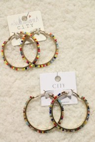Brighter Days Large Beaded Hoop Earring In Multiple Colors