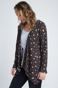 Close It Down Leopard Cardigan With Hood In Brown - Sizes 12-20