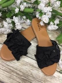 Strolling Along Black Denim Ruffled Sandals
