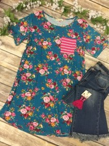 This Is the Time Floral Dress With Striped Pocket in Sapphire- Sizes 8-16