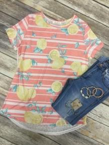 Sing A Little Louder Stripes & Lemon Short Sleeve In Coral - Sizes 4-10