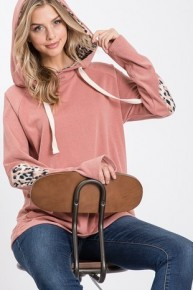 Truly Yours Super Soft Hoodie With Leopard Elbow Patch In Rose - Sizes 4-12
