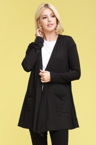 Keep Smiling Draped Cardigan with Pocket Sizes 4-10