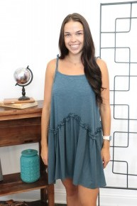 Born For This Teal Dress With Ruffle Detail- Sizes 4-10