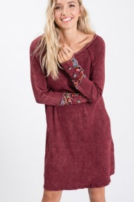 Free To Be Me Burgundy Ribbed Dress With Aztec And Button Sleeve- Sizes 4-12
