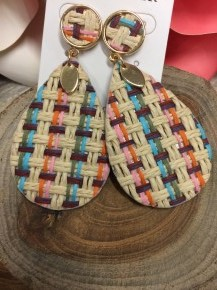 Picnic Basket Teardrop Earring with Gold Accent
