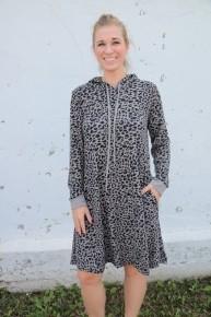 Lara Loves It Leopard Long Sleeve Hooded Dress In Gray - Sizes 6-18