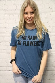 No Rain No Flowers Graphic Tee In Teal- Sizes 4-10