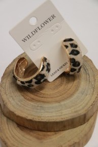 Leopard All The Way Hoop Earrings With Ponyhair