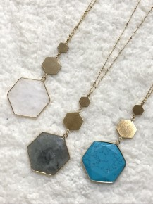 Rather Feel This Way Hexagon Pendants Long Necklace - Multiple Colors