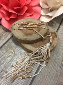 Cream,Gold and White Long Beaded Necklace With Tassels