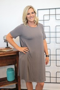 Flair It Up T-Shirt Dress In Slate Gray - Sizes 12-20