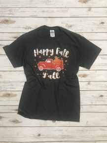 Happy Fall Y'all Graphic Tee In Charcoal- Sizes 4-18