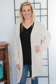 He Knows White Popcorn Cardigan with Front Pockets Sizes 4-20