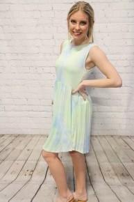 Made It Out Tie Dye Tank Dress In Blue & Green- Sizes 4-20