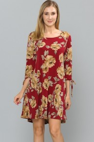 It's Gonna Happen Floral Dress With Tie Sleeve Accent In Wine- Sizes 12-20
