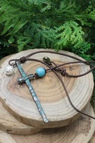 At The Cross Leather Necklace With Pearl Accent