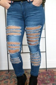 The Dani Dark Washed Distressed Skinny Jean with Leopard Mesh Cutout Sizes 4- 12
