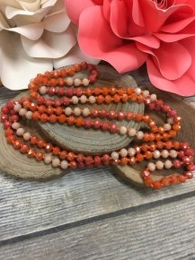 Point Of Perfection Beaded Necklace In Peaches And Cream