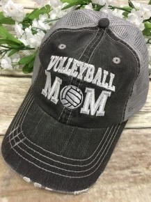 Volleyball Mom Distressed Ball Cap With Mesh Back