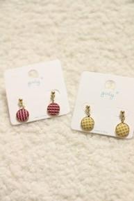 Oh So Sweet Gingham Print Circle Earrings In Multiple Colors