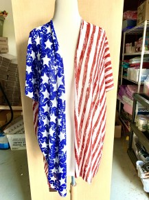 Oh Say Can You See Short American Flag Stretchy Kimono