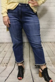 The Stella Judy Blue Mid-Rise Pom Pom Hem Jeans-Sizes 12-20