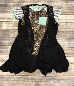 Life Is Good Lace And Ruffle Vest In Black- Sizes 4-20