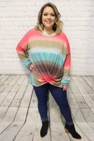 Bring It On Tie-Dye Tunic With Twisted Hem In Teal - Sizes 4-20