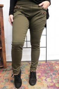 My Side Leopard Accented Moto Jegging in Multiple Colors Sizes 6-18