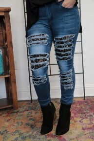 Something Special Skinny Jean with Black Lace Cutouts Sizes 4-14