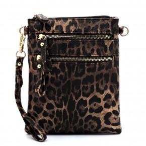 Side Swipe Leopard Crossbody With Double Zipper