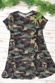 We Were Younger Camo Short Sleeve Dress - Sizes 4-10