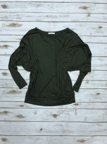 Heavy as a Feather Off the Shoulder Dolman in Olive Green Sizes 4-10
