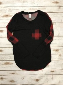 Find Your Peace Buffalo Check Long Sleeve Top with Accent Buffalo Check Pocket on Front Sizes 4-10