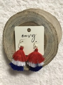Old Glory Tassel Earrings in Red, White & Blue