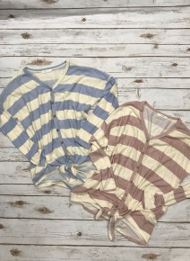 I'll Be Dreaming Striped Tunic with Front Tie and Faux Wooden Buttons in Multiple Colors Sizes 4-10