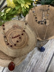 Chasing Pavements Three Layer Beaded Necklace With Pendant in Multiple Colors