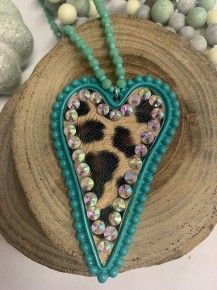 Crazy About You Beaded Necklace With Leopard Heart Pendant- Multiple Colors