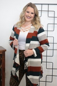 In My Mind Striped and Tassel Cardigan- Sizes 4-20