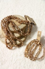 Crystal Gold Point Of Perfection Bundle & 3 Strand Beaded Bracelet