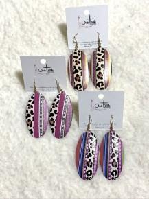 Leopard & Serape Oval Shaped Metal Earrings - Multiple Colors