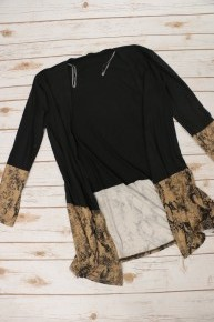 Moves Like Jagger Snake Skin Accented Hem Cardigan