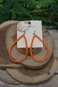 Better Off Together Seed Bead Teardrop Earrings In Orange