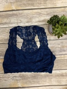 Midnight Lace Bralette In Navy- Sizes 12-20
