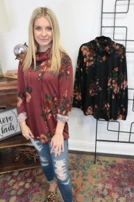 All Over Floral Print Cowl Neck Sweater - Multiple Colors - Sizes 4-20