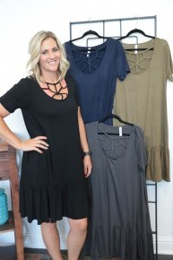 All The Way Home Criss Cross Neck Dress With Ruffle Hem- Sizes 12-20