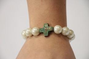 Patina Cross and Beads Bracelet
