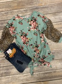 Who I Am Floral & Leopard Bubble Sleeve Top In Mint - Sizes 4-18