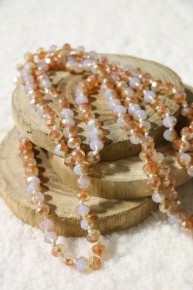 Point Of Perfection Beaded Necklace In Caramel Popcorn